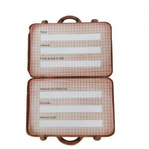 Etiquette en forme de valise