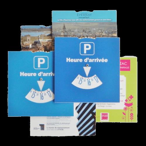 disque de stationnement personnalisé format 15x15 cm utilisable en France
